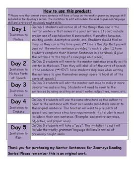 Journeys Mentor Sentence for Lesson 10