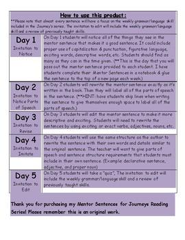 Journeys Mentor Sentence for Lesson 15