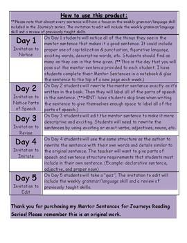 Journeys Mentor Sentence for Lesson 5