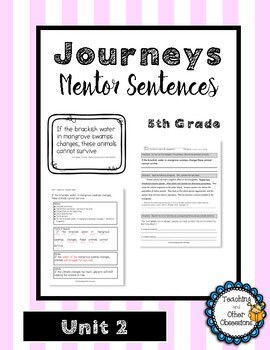 Journeys Unit 2 Mentor Sentences- 5th Grade
