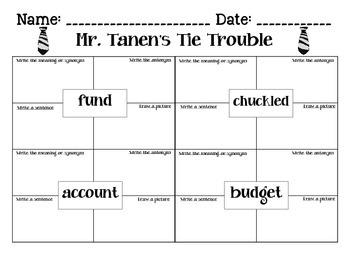 Journeys Mr. Tanen's Tie Trouble Spelling & Vocab. Activities Lesson 16