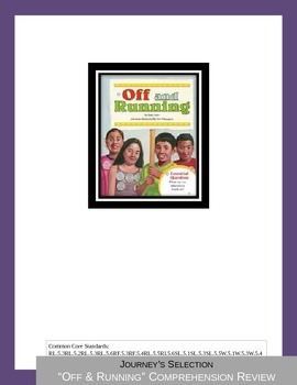 "Journey's ""Off & Running"" Comprehension & Vocabulary Worksheet"