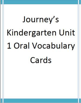 Journey's Oral Vocabulary Cards Kindergarten Unit 1