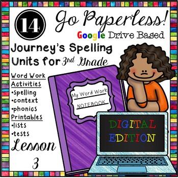 Journeys Paperless 3rd Grade Spelling Word Work Activities Unit 3