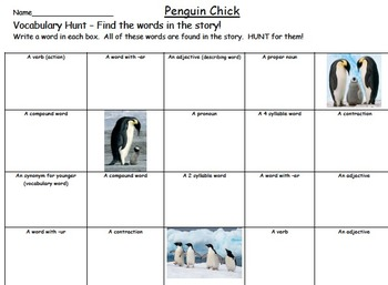 Journeys Penguin Chick Vocabulary Hunt