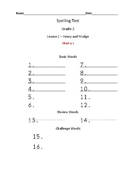 Journeys Practice Spelling Tests and Spelling Tests Grade 2