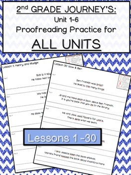 Journeys Proofreading Practice for ALL UNITS 1-6 2nd Grade