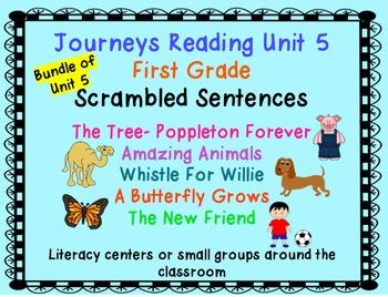 Journeys Reading First Grade Unit 5 Bundle of Scrambled Sentences