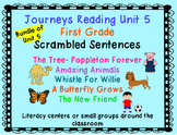 Journeys Reading First Grade Unit 5 Bundle of Scrambled Sentences