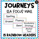 Journeys Reading ELA Focus Wall Headers Colorful Rainbow D