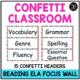 Journeys Reading Focus Wall Headers Confetti Theme Classro