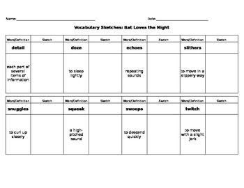 Journeys Reading - Grade 3 - Vocabulary Sketch - Unit 2