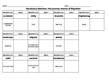Journeys Reading - Grade 3 - Vocabulary Sketch - Unit 5