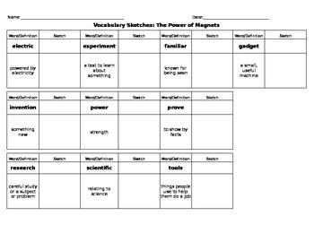 Journeys Reading - Grade 3 - Vocabulary Sketch - Unit 6