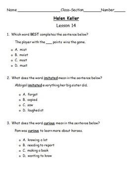 """Journeys 2nd Lesson 14 Test for """"Helen Keller"""""""
