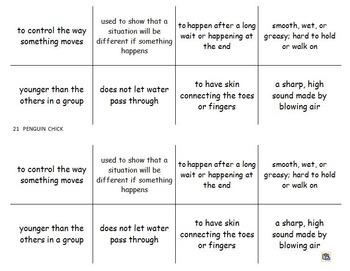 "Journeys 2nd Lesson 21 Vocab Flash Cards for ""Penguin Chick"""