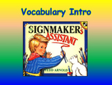 """Journeys 2nd Lesson 19 Vocab Intro PPT for """"The Signmaker's Assistant"""""""
