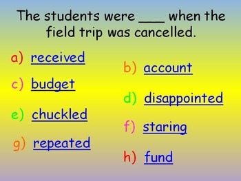 """Journeys 2nd Lesson 16 Vocab Review PPT for """"Mr. Tanen's Tie Trouble"""""""