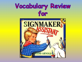 "Journeys 2nd Lesson 19 Vocab Review PPT for ""The Signmaker's Assistant"""