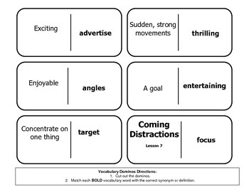 """Journeys Reading Series 4th Grade Dominoes """"Coming Distractions"""" Lesson 7"""