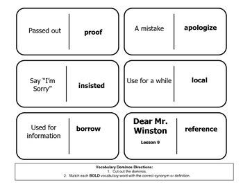 """Journeys Reading Series 4th Grade Dominoes """"Dear Mr. Winst"""