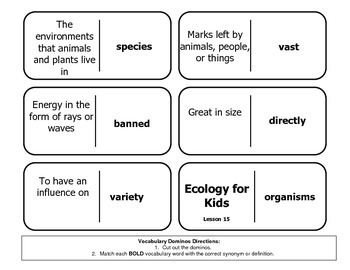 "Journeys Reading Series 4th Grade Dominoes ""Ecology for Kids"" Lesson 15"
