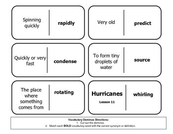 """Journeys Reading Series 4th Grade Dominoes """"Hurricanes"""" Lesson 11"""