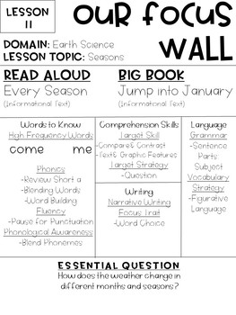 Journeys Reading Series Focus Walls 11-20 [Kindergarten]