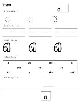 Houghton Mifflin  Journeys Reading Series Kindergarten Sight Word Activities