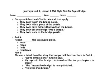 Journeys Reading Series- Pop's Bridge FSA Style Test
