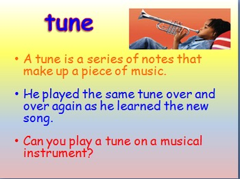 "Journeys 2nd Lesson 12 Vocab Intro PPT for ""Ah, Music!"""