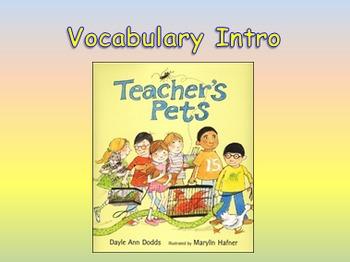 "Journeys 2nd Lesson 05 Vocab Intro PPT for ""Teacher's Pets"""