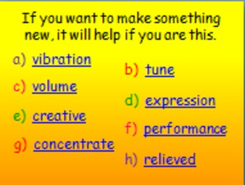 "Journeys 2nd Lesson 12 Vocab Review PPT for ""Ah, Music!"""