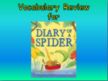 "Journeys 2nd Lesson 04 Vocab Review PPT for ""Diary of a Spider"""