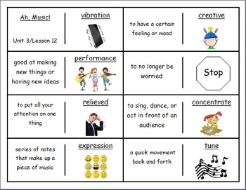 """Journeys 2nd Lesson 12 Vocabulary Dominoes for """"Ah, Music!"""""""