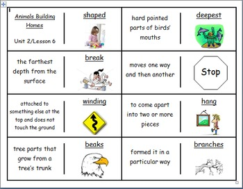 """Journeys 2nd Lesson 06 Vocabulary Dominoes for """"Animals Bu"""