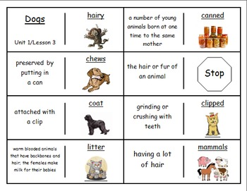 "Journeys 2nd Lesson 03 Vocabulary Dominoes for ""Dogs"""