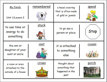 """Journeys 2nd Lesson 02 Vocabulary Dominoes for """"My Family"""""""