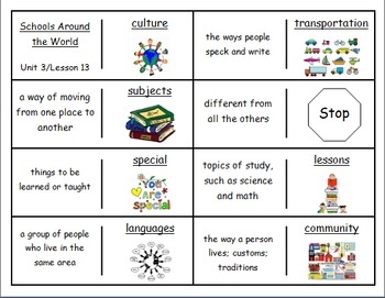 """Journeys 2nd Lesson 13 Vocabulary Dominoes for """"Schools Around the World"""""""