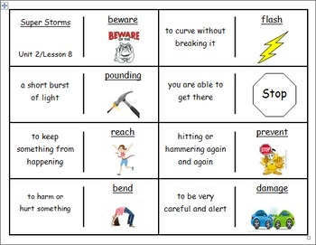 """Journeys 2nd Lesson 08 Vocabulary Dominoes for """"Super Storms"""""""