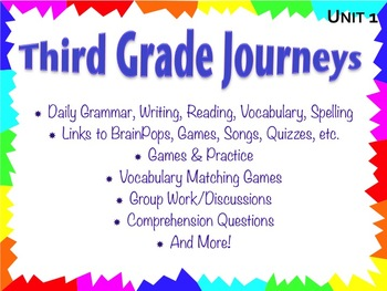 Third Grade Journeys Unit 1 Interactive Notebook Presentation
