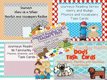 Journeys Reading Series Units 1-6 Vocabulary, Grammar, and Phonics Task Cards