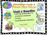 Journeys Reading Unit 1 Bundle: Grade 4 -- learning goals, scales, trifolds