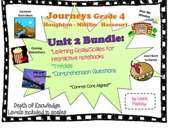 Journeys Reading Unit 2 Bundle: Grade 4 -- learning goals,