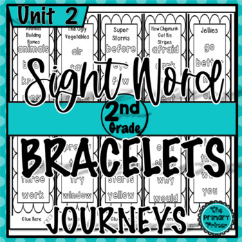 Journeys SECOND Grade Sight Word Bracelets/Bookmarks:  Unit TWO