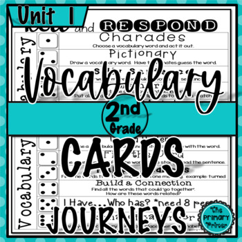 Journeys SECOND Grade Vocabulary Cards:  Unit ONE