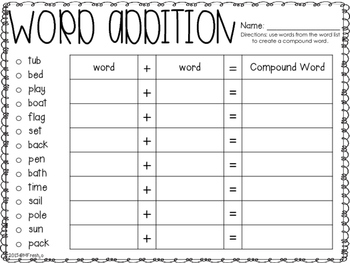 Journeys SPELL IT OUT! #20 compound words Printables & Center Activities