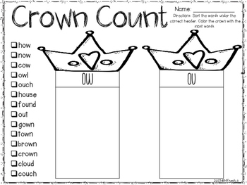 Journeys SPELL IT OUT! #25 vowel combo ow/ou Printables & Center Activities