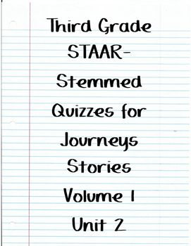 Journeys STAAR Quizzes for Unit 2