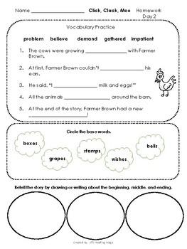 Journeys Second Grade Click Clack Moo Cows that Type Homework